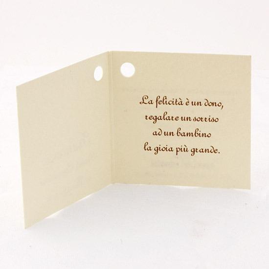Conosciuto Cartoncino per bomboniere - Bomboniere Solidali Ai.Bi. LU08