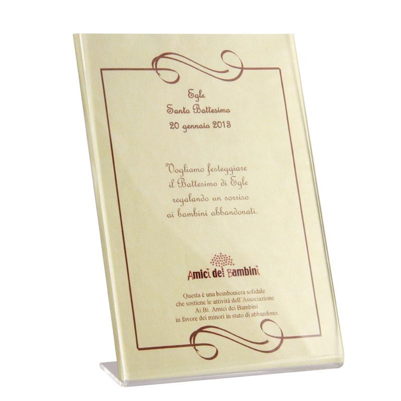 Favoloso Pergamena solidale personalizzata - Bomboniere Solidali Ai.Bi. LK91